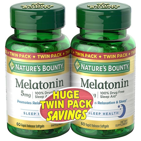 Nature's Bounty Melatonin 5mg Dietary Supplement, Softgels Twin Pack