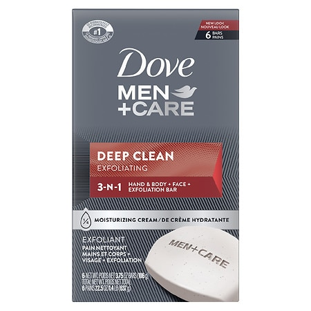 Dove Men+Care Body & Face Bar Deep Clean,6 pk