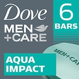 Dove Men+Care Body + Face Bars 6 Pack, Aqua Impact