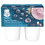 Gerber Yogurt Blends Snack 4 Pack Blueberry with Whole Grains