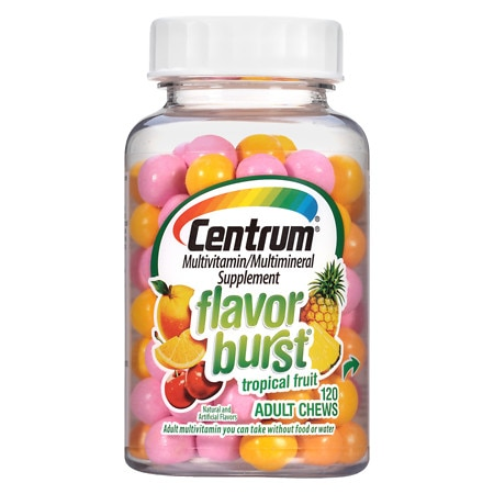 Centrum Flavor Burst Chews Adult Multivitamins Tropical Fruit