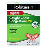 Robitussin DM Cough+Chest Congestion Liquid-Filled Capsules, Non-Drowsy