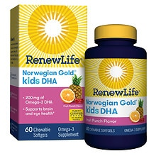ReNew Life Norwegian Gold Kids DHA Chewables Fruit Punch