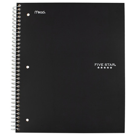 Mead Five Star 5 Subject Spiral Notebook Wide Ruled Assorted