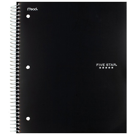 Mead Five Star 3 Subject Notebook College Ruled Assorted