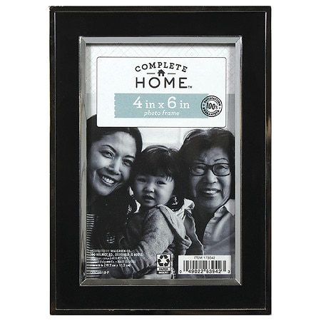 Home Elements Picture Frame 4 inch x 6 inch Black/Silver