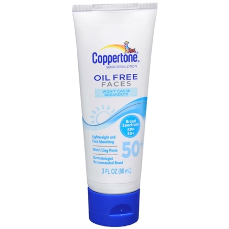Coppertone Oil Free Sunscreen Lotion for Faces, SPF 50+