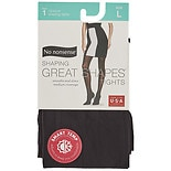 No Nonsense Great Shapes Opaque Shaping Tights Size LLarge Black