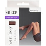 West Loop Control Top Sheer Toe Pantyhose C