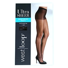 West Loop Reinforced Panty Sheer Toe Ultra Sheer Pantyhose E Jet Brown