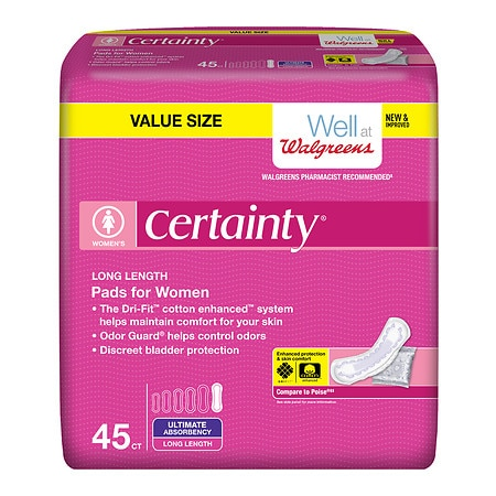 Walgreens Certainty  Pads for Women, Ultimate Long Ultra Absorbency