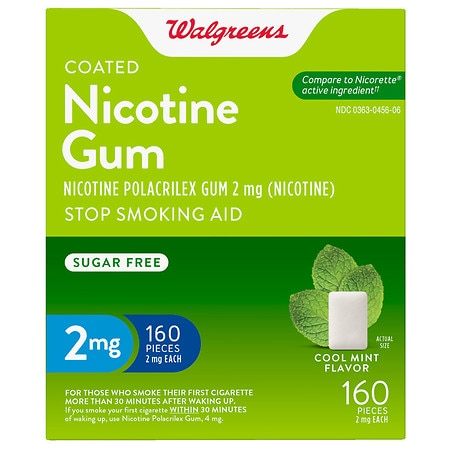 Walgreens Coated Nicotine Gum 2mg Mint