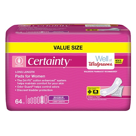 Walgreens Certainty Bladder Protection Pads Large, 64 each