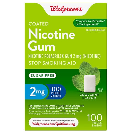 Walgreens Coated Nicotine Polacrilex Gum 2mg Cool Mint