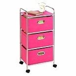 Honey Can Do 3 Drawer Rolling Cart Chrome Pink
