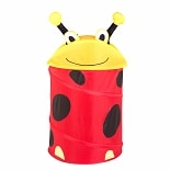 Honey Can Do Medium Kid's Pop Up Hamper  Lady Bug Yellow Red