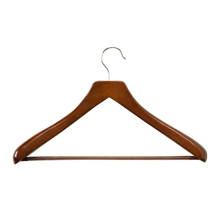 Honey Can Do Deluxe Contoured Suit Hanger With Non Slip Bar, 2 Pk Cherry Finish