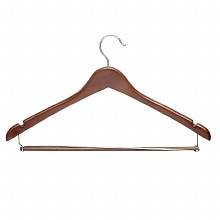 Honey Can Do Contoured Suit Hanger With Locking Bar, 6 Pk Cherry Finish
