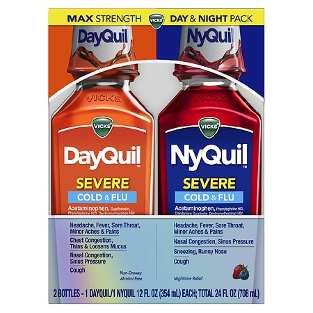 Vicks Dayquil Nyquil Severe Cold & Flu Combo Pack, Liquid Berry