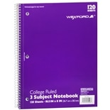 Wexford Notebook College Ruled 3 Subject Assorted