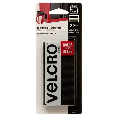 VELCRO Brand Industrial Strength Strips 4 x 2 inch Black