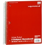 Wexford 5 Subject Wide Rule Notebook Assorted