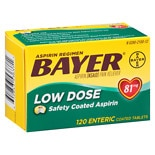 Bayer Aspirin Regimen Low Dose Safety Coated Enteric Tablets, 81mg