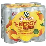 V8 V-Fusion + Energy Vegetable & Fruit Beverage 6 Pack 8 oz Cans Peach Mango
