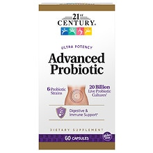 21st Century Ultra Potency Advanced Probiotic 20 Billion Live Probiotic Cultures, Capsules
