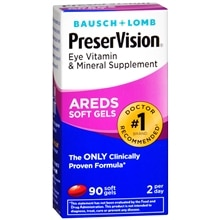 Bausch + Lomb PreserVision AREDS Eye Vitamin & Mineral Supplement Soft Gels