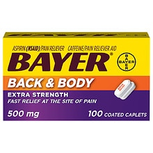 Bayer Extra Strength Coated Caplets, Back & Body