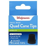 Walgreens Small Base Quad Cane Tips 1/2 inch Diameter Black
