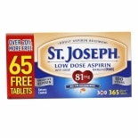St. Joseph Safety Coated Aspirin Pain Reliever, 325mg Tablets