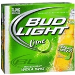 Bud Light Beer 12 Pack 12 oz Bottles Lime