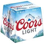 Coors Light Beer 9 Pack 16 oz Bottles 16 oz Aluminum Bottles