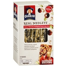 Quaker Real Medleys Multigrain Fruit & Nut Bars 5 Pack Cherry Pistachio