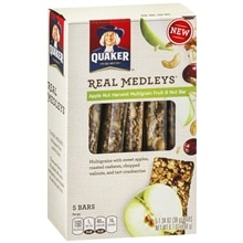 Quaker Real Medleys Multigrain Fruit & Nut Bars 5 Pack Apple Nut Harvest