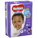 Huggies Little Movers Diapers, Jumbo Pack Size 6, 35+ lbs, 18 ea