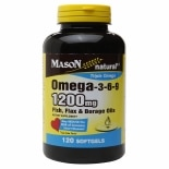 Mason Natural Omega-3-6-9 1200mg Fish, Flax & Borage Oils, Softgels