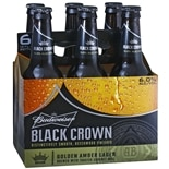 Budweiser Black Crown Beer 6 Pack 12 oz Bottles