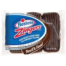 Hostess Zingers Iced Cakes with Creamy Filling 3 Pack Devil's Food