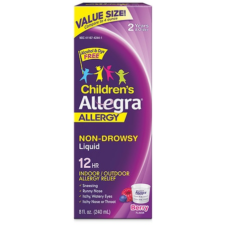 Allegra Children's 12 Hour Allergy, 30mg, 5mg Non-Drowsy Oral Suspension Berry
