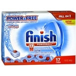 Finish Powerball Tabs Dishwasher Detergent, Power & Free