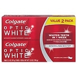 Colgate Optic White Anticavity Fluoride Toothpaste, Twin Pack Sparkling Mint