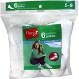 Hanes Ladies Ankle Socks White