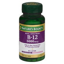 Nature's Bounty Dual Spectrum B-12 5000mcg Energy Support, Tablets