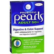 Enzymatic Therapy Probiotic Pearls Adult 50+ Digestive & Colon Support, Softgels