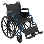 Drive Medical Blue Streak Wheelchair with Flip Back Desk Arms and Swing Away Footrest 20 Inch Seat Blue Streak