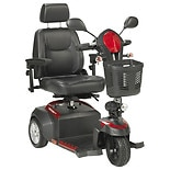 Drive Medical Ventura 3 Wheel Scooter, Captain Seat 20 inch Seat Red & Blue