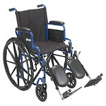 Drive Medical Wheelchair, Flip Back Desk Arms & Elevating Leg Rests 20 Inch Seat Blue Streak